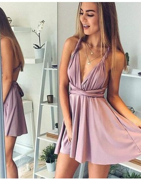 Convertible Lavender V-neck Satin Short Homecoming Dress HD3098