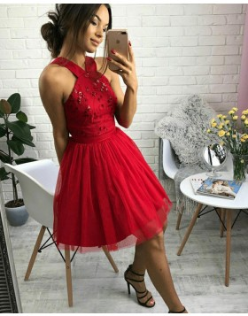 A-line Beading Halter Tulle Red Homecoming Dress HD3100
