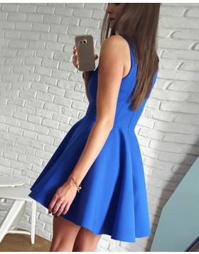 V-neck Blue Simple Pleated Satin Homecoming Party Dress HD3101