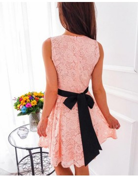 V-neck Pink Pleated Lace Short Party Dress with Black Belt HD3102