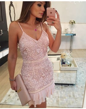 Spaghetti Straps Nude Lace Tight Graduation Dress with Layered Hemlines HD3103
