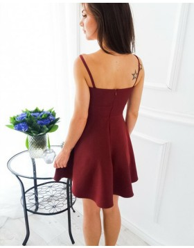 Simple Double Spaghetti Straps Satin Red Short Homecoming Dress HD3109