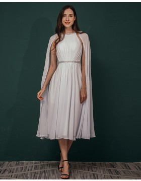 Beading White Chiffon Pleated Ankle Length Formal Dress with Hanging Sleeves QS311046