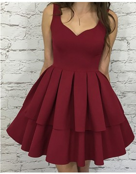 Simple Square Layered Pleat Rose Red Satin Short Homecoming Dress HD3110