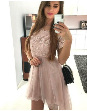 Bateau Pink Lace Bodice Homecoming Dress with Short Sleeves HD3113