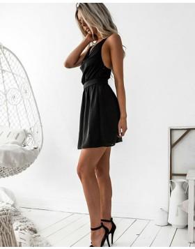 Simple Double Spaghetti Straps Black Chiffon Graduation Dress HD3117