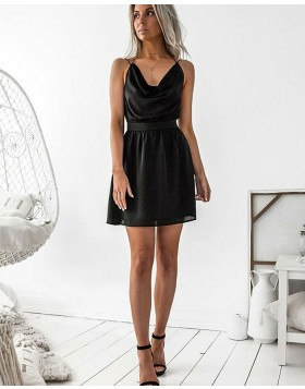 Simple Double Spaghetti Straps Black Chiffon Graduation Dress HD3117