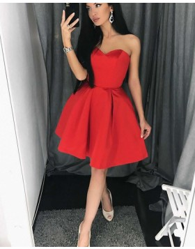 Simple Sweetheart Satin Pleat Red Homecoming Dress HD3121
