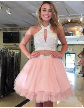 High Neck Pink Cutout Beading Two Piece Homecoming Dress HD3123