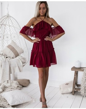 Cold Shoulder Burgundy Chiffon A-line Homecoming Dress HD3127