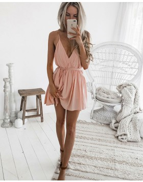 Simple Spaghetti Straps V-neck Pleated Chiffon Pink Homecoming Dress HD3129