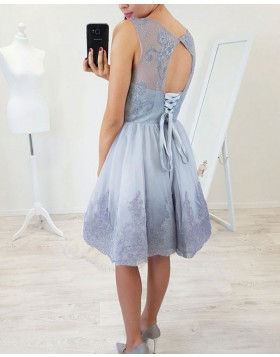 A-line Sheer Jewel Dusty Blue Appliqued Homecoming Dress HD3130