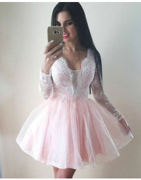 V-neck Pearl Pink Lace Bodice Homecoming Dress with Long Sleeves HD3131
