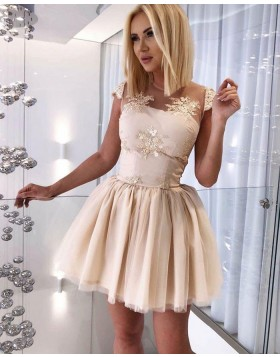 Jewel Sheer Appliqued Tulle Champagne Homecoming Dress HD3132