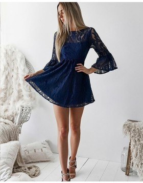 Jewel Navy Blue Lace Homecoming Dress with Bell Sleeves HD3133