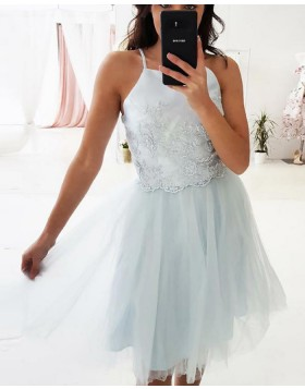 Spaghetti Straps Applique Grey Homecoming Dress with Tulle Skirt HD3135