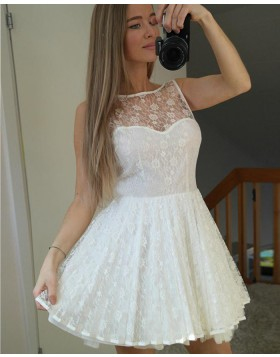 Sleeveless Jewel Ivory Sheer Lace A-line Homecoming Dress HD3136