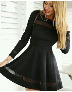 Jewel Black A-line Little Black Dress with Long Sleeves HD3141