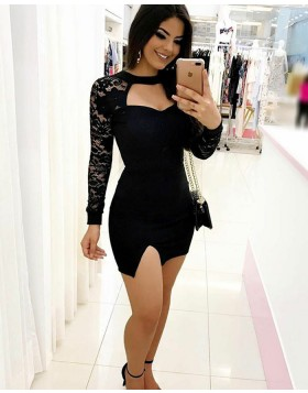 Round Neck Cutoust Satin Tight Black Homecoming Dress with Long Sleeves HD3144