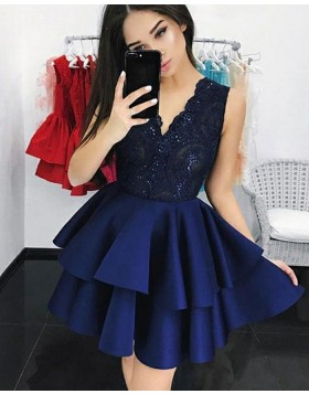 V-neck Lace Bodice Layered Navy Blue Homecoming Dress HD3147