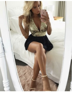 Sexy Deep V-neck Sequined Bodice with Black Skirt HD3150