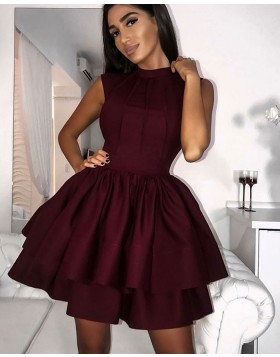 High Neck Burgundy Pleated Homecoming Dress with Layered Skirt HD3151