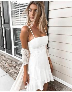 Simple Square White Asymmetric A-line Homecoming Dress HD3152