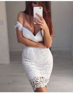 Amazing Off the Shoulder Ivory Lace Bodycon Homecoming Dress HD3156