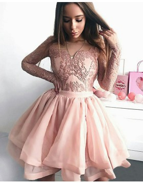 Sheer Tulle Skirt Pink Short Homecoming Dress with Long Lace Sleeve HD3162