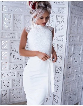High Neck White Tight Lace Bodice Satin Sheath Club Dress HD3163