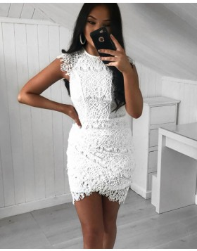 High Neck White Lace Tight Party Dress with Tulip Skirt HD3164