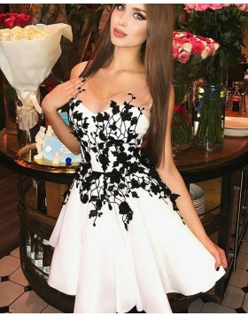 V-neck Pleated White Satin Homecoming Dress with Black Appliques HD3167