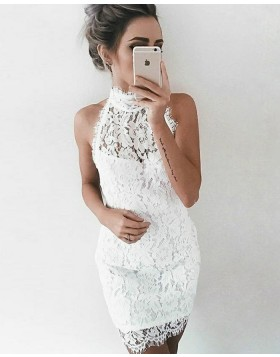 Sleeveless High Neck Ivory Lace Tight Party Dress HD3168