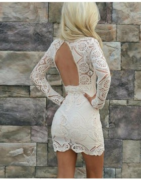 Queen Anne Tight Ivory Lace Party Dress with Long Sleeves HD3171