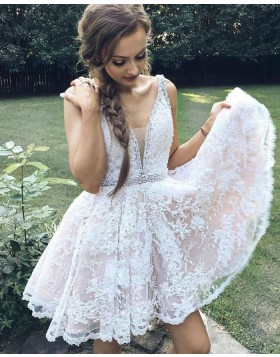 Deep V-neck Lace Beading Homecoming Dress with Pleats HD3174