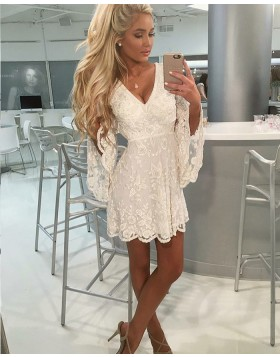 A-line Ivory V-neck Lace Homecoming Dress with Bell Sleeves HD3179