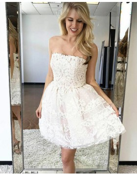 Fit and Flare Strapless White Lace Short Homecoming Dress HD3183