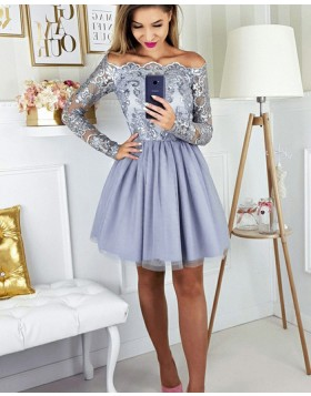 Off the Shoulder Dusty Blue Lace Bodice Homecoming Dress with Long Sleeves HD3189