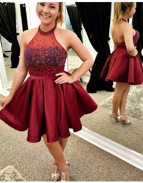 High Neck Beading Red Homecoming Dress with Satin Pleated Skirt HD3190