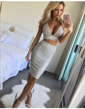 Sexy Two Piece Beading Silver Tight Club Dress HD3192