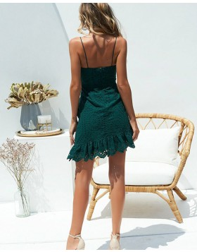 Spaghetti Straps Dark Green Asymmetric Lace Homecoming Dress HD3196