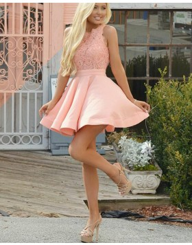 Fit and Flare Jewel Coral Pink Lace Bodice Homecoming Dress HD3198