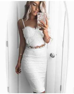 Two Piece Square Lace Bodice Knee Length White Graduation Dress HD3199