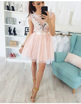 Sheer Lace Appliques Pink Tulle Homecoming Dress HD3200