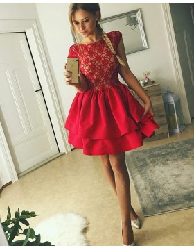 Jewel Lace Bodice Red Homecoming Dress with Layered Skirt HD3202