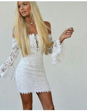 Off the Shoulder White Criss Cross Lace Tight Club Dress with Bell Sleeves HD3207