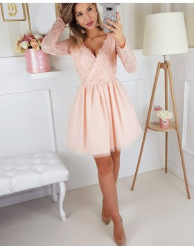 V-neck Lace Pink Chiffon Homecoming Dress with Long Sleeves HD3211