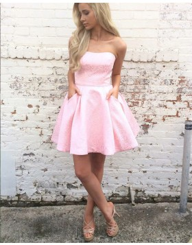 A-line Strapless Pink Lace Homecoming Dress with Pockets HD3213