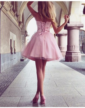 Sweetheart Pink Simple Homecoming Dress with Tulle Skirt HD3214