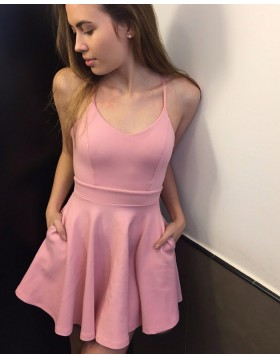 Scoop Satin Pink Simple Homecoming Dress with Pockets HD3215